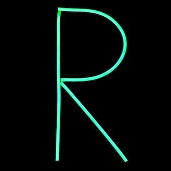 Зеленые неоновые огни буквы алфавита
