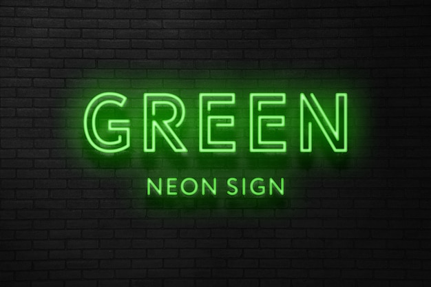 Green neon sign text effect