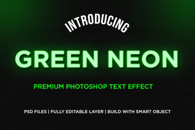 Green neon text style effect
