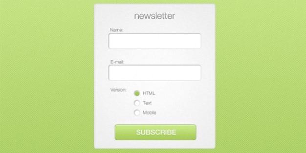 Green newsletter subscription box