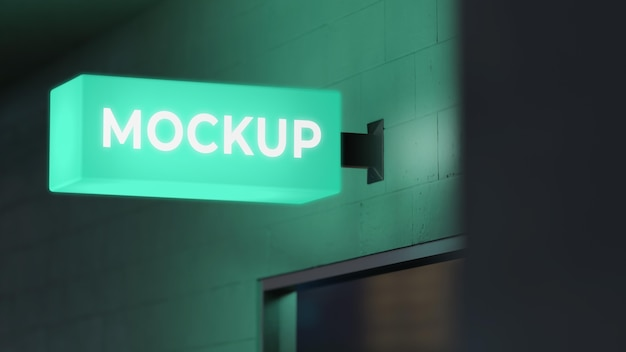 Green nighttime business sign mock-up