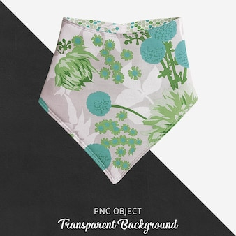 Green patterned bandana for baby or children's on transparent background
