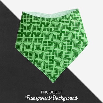 Green patterned bandana for baby or children on transparent background