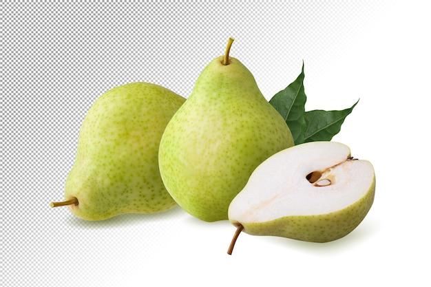 Зеленые плоды груши, изолированные на белом фоне