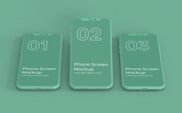 緑の電話画面のモックアップ正面図