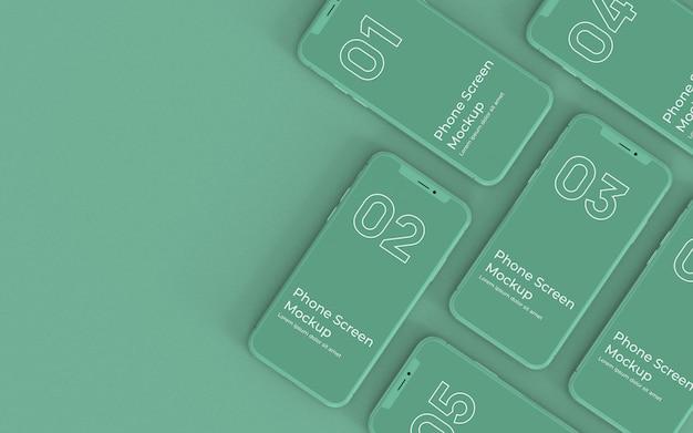 緑の電話画面のトップビュー