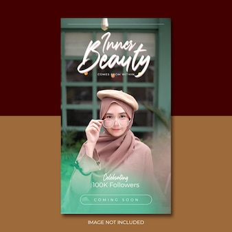 Green pink inner beauty story feed social media template