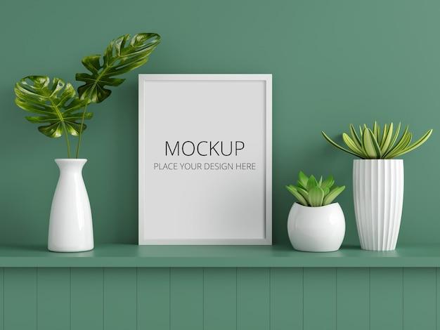 Green plant in vase with frame mockup