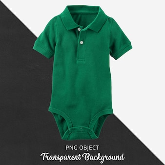 Green polo jumpsuit for baby or children on transparent background