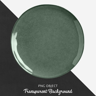 Green porcelain round plate on transparent background