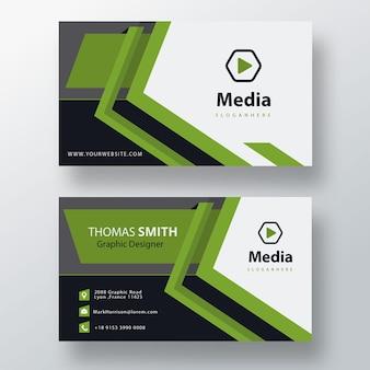 Green professional psd business card template