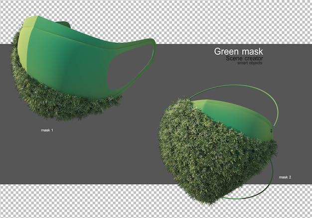 緑の保護マスク