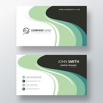 зеленый PSD шаблон визитной карточки