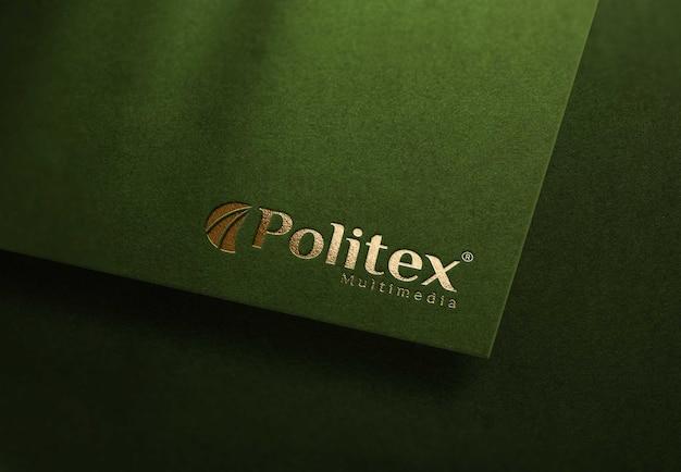 Green realistic mockup logo