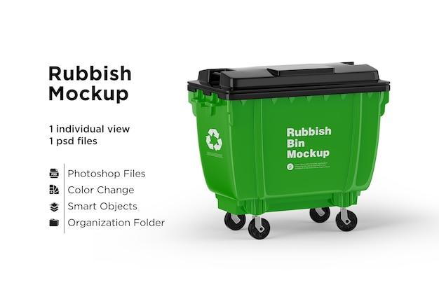 Green recycling rubbish bin mockup