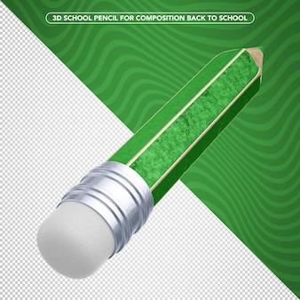 学校に戻るための緑の学校の鉛筆