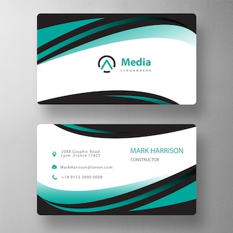 Green shape business card mockup