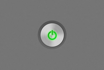 Green shutdown icon with metal texture
