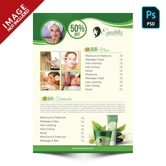 Green spa products and packages promotion back side