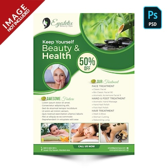 Green spa products and packages promotion front side
