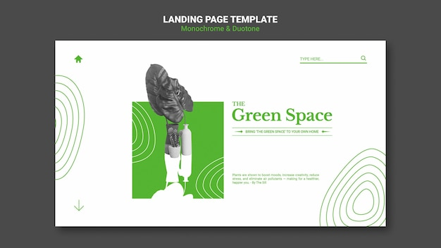 Pagina di destinazione dello spazio verde