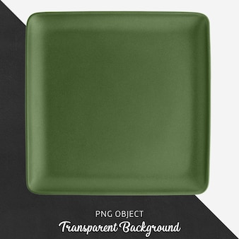 Green square ceramic plate on transparent background