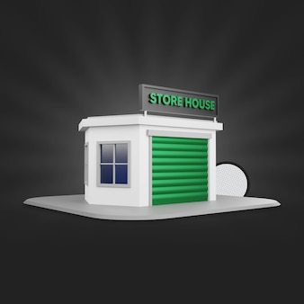 Green store house 3d rendering