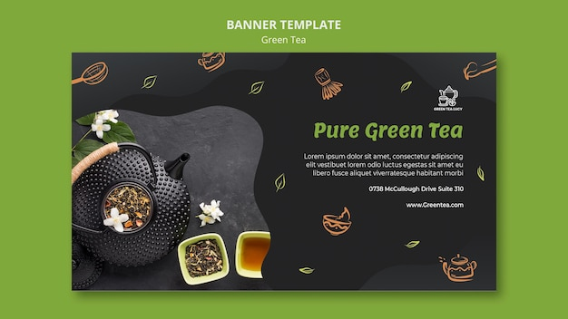 Green tea ad banner template