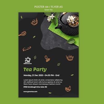 Шаблон плаката зеленого чая