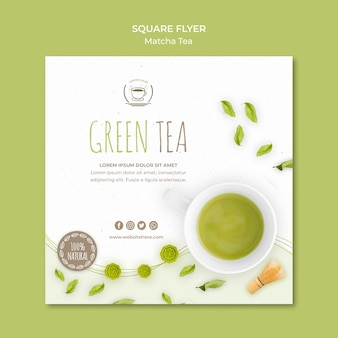 Green tea square flyer template