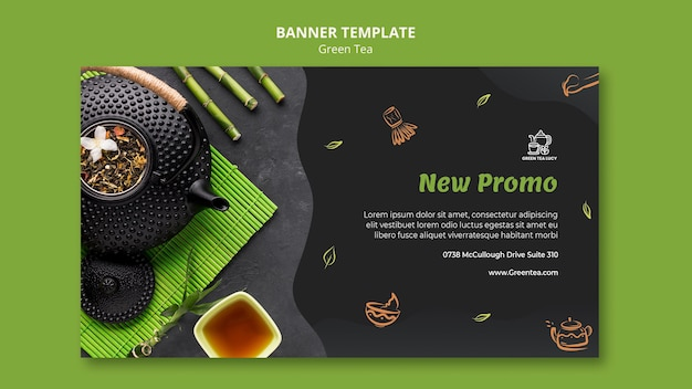 Green tea template banner