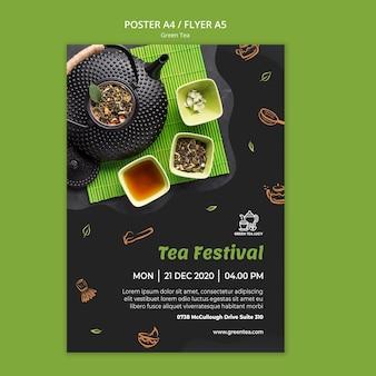 Green tea template flyer