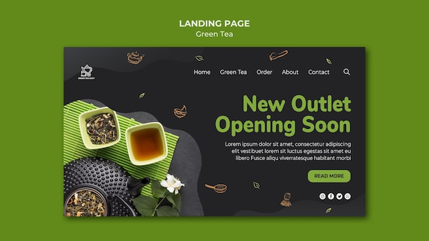 Green tea template landing page