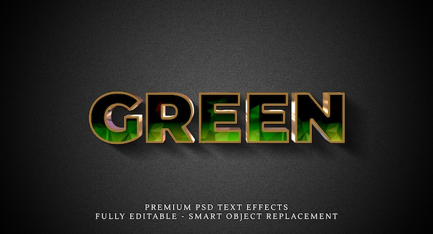 Green text style effect psd