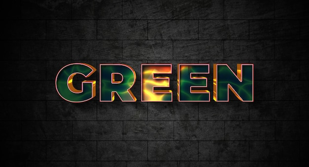 Эффект стиля зеленого текста