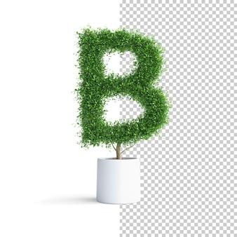 緑の木のアルファベット文字b