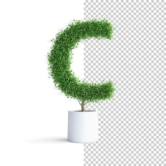 緑の木のアルファベット文字c