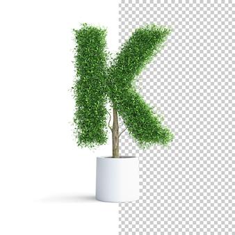 緑の木のアルファベット文字k
