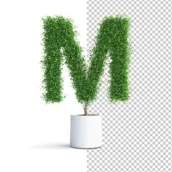 Green tree alphabet letter m