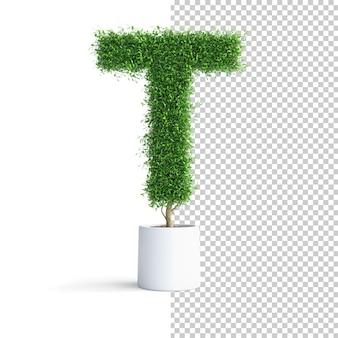 緑の木のアルファベット文字t