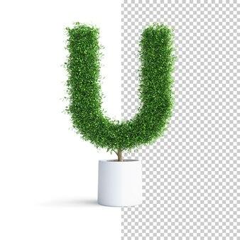 緑の木のアルファベット文字u