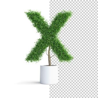 緑の木のアルファベット文字x