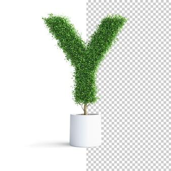 緑の木のアルファベット文字y
