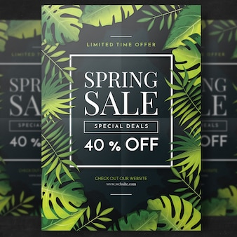 Green tropical sale flyer template