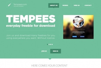 Green web header flat design