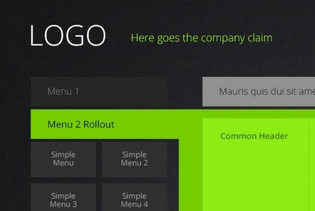 メトロスタイルの緑ウェブサイトのテンプレート