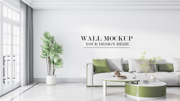 Green and white color room wall background in 3d scene