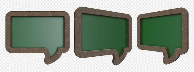 分離されたバブルチャット形状イラストと緑の木製黒板