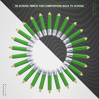 学校に戻る作曲のための緑の筆記鉛筆の弓