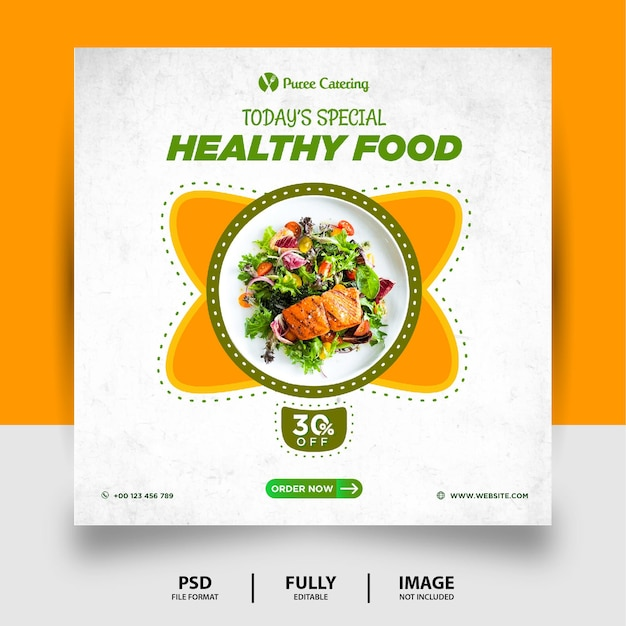 緑黄色の健康食品ソーシャルメディア投稿バナー